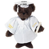 """15"""" Graduation Bear in White Gown - Front view of standing jointed bear dressed in white satin graduation gown and cap and holding a rolled up diploma personalized """"Jackson 2021"""" on right sleeve and """"Syracuse"""" on left in gold - Espresso image number 7"""
