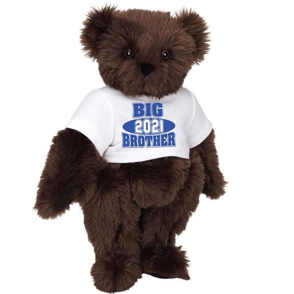 """15"""" 2021 Big Brother T-Shirt Bear - Standing jointed bear dressed in a white t-shirt with royal blue and white artwork that says, """"Big Brother 2021"""" on the front of the shirt - Espresso image number 7"""