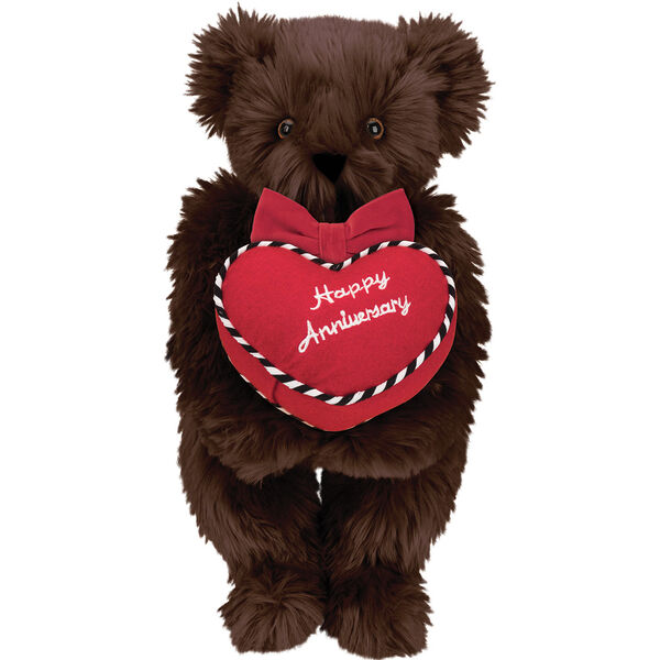 """15"""" Happy Anniversary Bear - Front view of standing jointed bear dressed in a red velvet bow tie and holding a red heart pillow that says' Happy Anniversary"""" in white  - Espresso brown fur image number 5"""