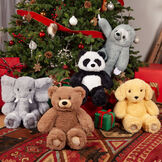 """18"""" Oh So Soft Teddy Bear - Grouped with the Oh So Soft Elephant, Panda, Sloth and Puppy in a Christmas scene image number 6"""