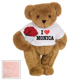 """15"""" """"I HEART You"""" Personalized T-Shirt Bear with Roses - Standing Jointed Bear in white t-shirt that says I """"Heart"""" You in black and red lettering holding a red rose bouquet - Pink image number 6"""