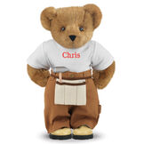"""15"""" Handy Bear - Front view of standing jointed bear dressed in tan work pants, white t-shirt and tan tool belt, personalized with """"Chris"""" on front of t-shirt in red lettering - Honey brown fur image number 0"""