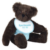 """15"""" Baby Boy Bear - Seated jointed bear dressed in light blue with white dots fabric diaper and bib. Bib with """"Ryan Alexander"""" and """"5-1-21"""" in light blue lettering - Espresso brown fur image number 9"""
