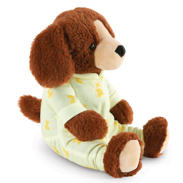 """13"""" PJ Pal Puppy - Three quarter view of cinnamon brown Puppy in yellow cotton onesie pajamas with Puppy print image number 7"""