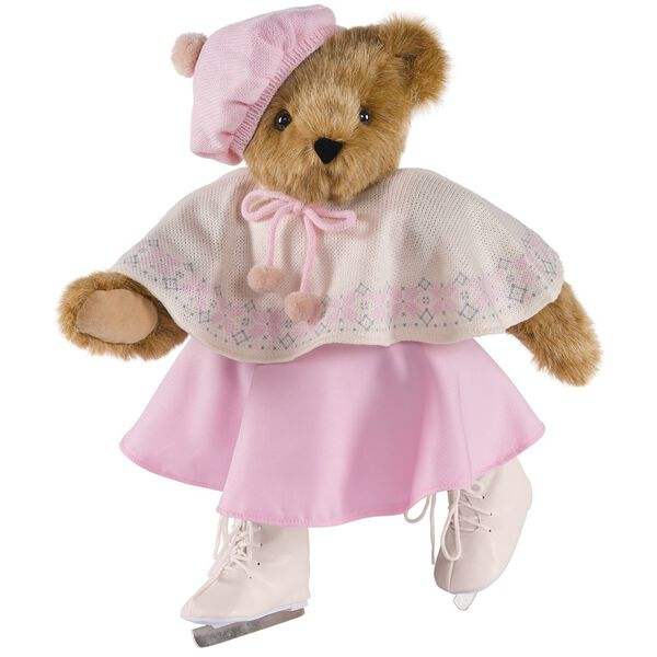 "15"" Bianca Bear - Three quarter view - Standing Jointed Bear in Honey Fur dressed in ivory cape with snowflake design, pink skirt and hat and white ice skates.  image number 0"