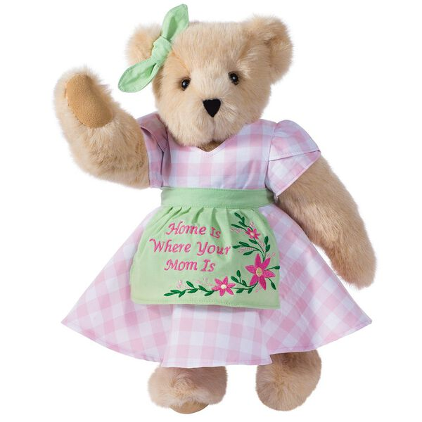 """15"""" Home Is Where Your Mom Is Bear - Front view of standing jointed bear wearing a pink gingham dress, green bow and apron with floral embroidery and says """"Home is Where Your Mom Is"""" - Buttercream brown fur image number 2"""