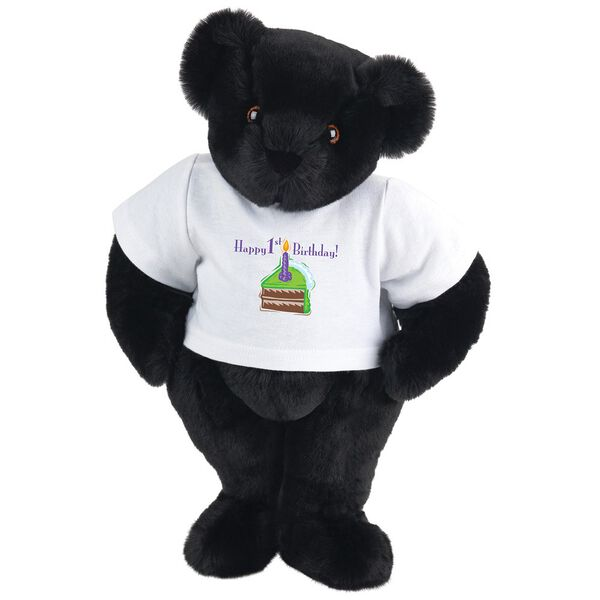 """15"""" 1st Birthday T-Shirt Bear-Chocolate Cake - Standing jointed bear dressed in a white t-shirt with a slice of chocolate cake artwork that says, """"Happy 1st Birthday!"""" on the front of the shirt - Black fur image number 3"""
