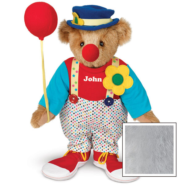 "15"" Clown Bear - Standing jointed bear dressed in dot pants with suspenders and daisy, red and blue shirt, blue hat, red clown shoes, and holds  red fabric balloon made personalized with ""John"" in white on shirt's center front - Gray image number 4"