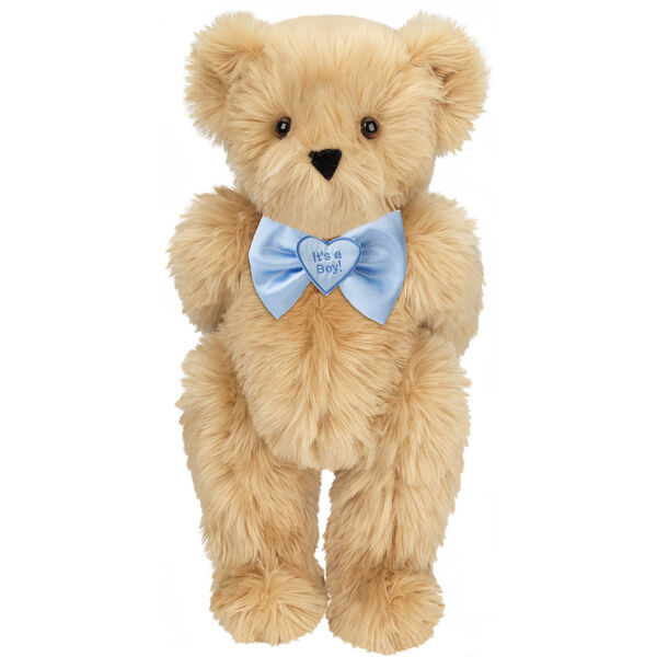 "15"" ""It's a Boy!"" Bow Tie Bear - Standing jointed bear dressed in light blue satin bow tie with ""It's a Boy!"" is embroidered on heart center - long Maple brown fur image number 5"
