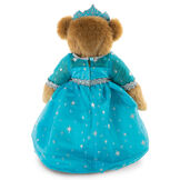 "15"" Winterland Queen Bear - Back view of standing jointed bear dressed in a blue dress with silver star tulle overlay and silver lace trim and blue and silver tiara image number 1"