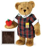 """15"""" Teacher Bear - Standing jointed bear dressed in a navy plaid dress with white teacher collar, colored pencils in the pocket and holding a fabric apple. Collar embroidered with """"ABC""""and personalized with """"Susan"""" in black - Espresso brown fur image number 7"""