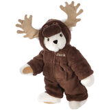 """15"""" Moose Bear - Front view of standing jointed bear dressed in a brown hoodie footie with tan antlers personalized with """"Jack"""" on left chest in gold lettering - Vanilla white fur image number 2"""