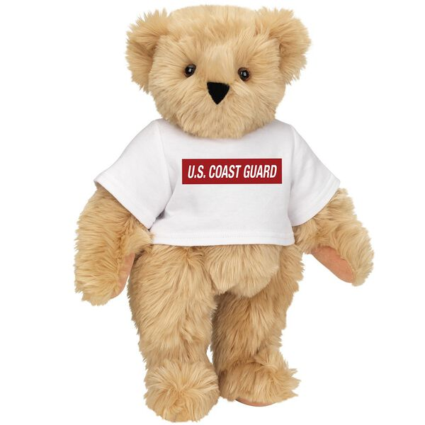 """15"""" Coast Guard T-Shirt Bear - Front view of standing jointed bear dressed in white t-shirt with dark red graphic that says, """"U.S. COAST GUARD"""" - Maple brown fur image number 5"""