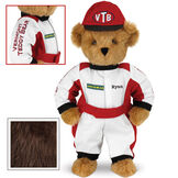 """15"""" Racecar Driver Bear - Front view of standing jointed bear dressed in red and white racing suit and hat with """"Vermont Teddy Bear"""" on sleeve, """"Good Bear"""" on chest and """"VTB"""" on hat. Personalized with """"Ryan"""" on in black - Espresso brown fur image number 5"""