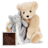 "15"" Cuddle Buddies Gift Set with Elephant Blanket - 15"" jointed seated bear with gray elephant blanket - Espresso image number 7"