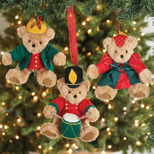 12 Days of Christmas Ornament Set - 3 Bears hanging in a Christmas tree dressed in red and green costumes: a Lady Dancing, a Lord a leaping, a Piper piping, and a Drummer drumming image number 3