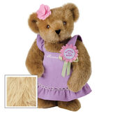 """15"""" Simply the Best Bear - Front view of standing jointed bear dressed in a lilac sundress with felt flower pin that says """"Simply the Best"""" in pink and pink flower on ear. Dress is personalized with """"Anna"""" in cream on front - Maple brown fur image number 5"""