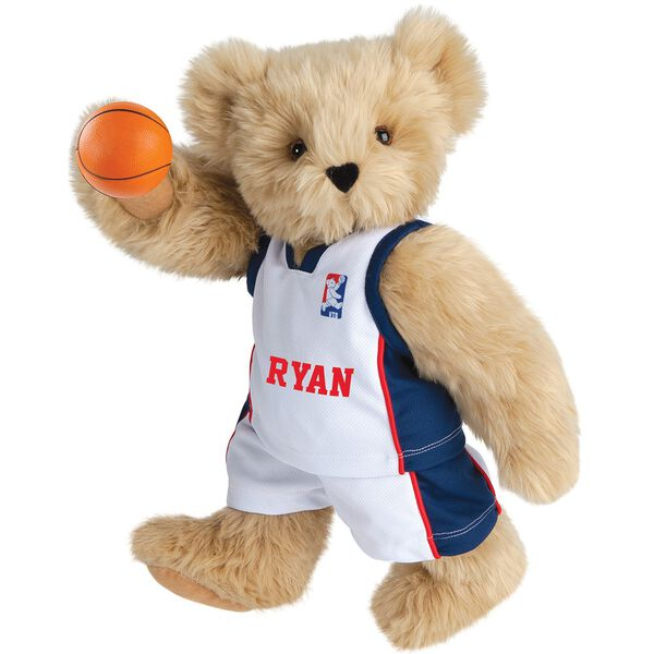 "15"" Basketball Bear - Standing jointed bear dressed in white jersey and shorts with blue and red trim. Bear comes with orange basketball. Center front of shirt is personalized with ""Ryan"" in red lettering - Maple brown fur image number 4"