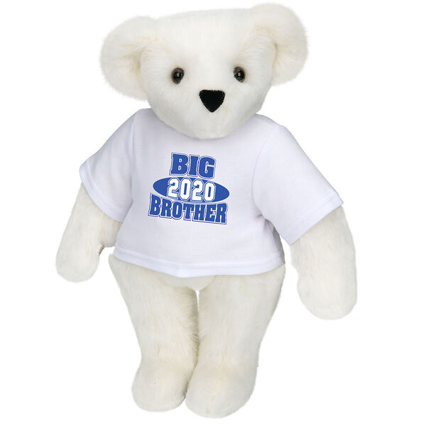 """15"""" 2020 Big Brother T-Shirt Bear - Standing jointed bear dressed in a white t-shirt with royal blue and white artwork that says, """"Big Brother 2020"""" on the front of the shirt - Vanilla white fur image number 2"""