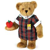 """15"""" Teacher Bear - Standing jointed bear dressed in a navy plaid dress with white teacher collar, colored pencils in the pocket and holding a fabric apple. Collar embroidered with """"ABC""""and personalized with """"Susan"""" in black - Honey brown fur image number 0"""