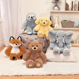 """18"""" Oh So Soft Teddy Bear - Grouped with the Oh So Soft Fox, Elephant, Sloth and Puppy in a Christmas scene image number 7"""
