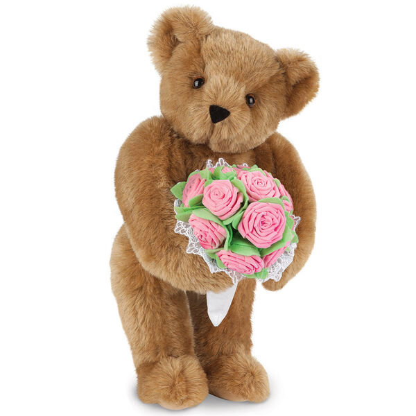 "15"" Pink Rose Bouquet Teddy Bear - Front view of standing jointed bear holding a large pink bouquet wrapped in white satin and lace - Honey brown fur image number 0"