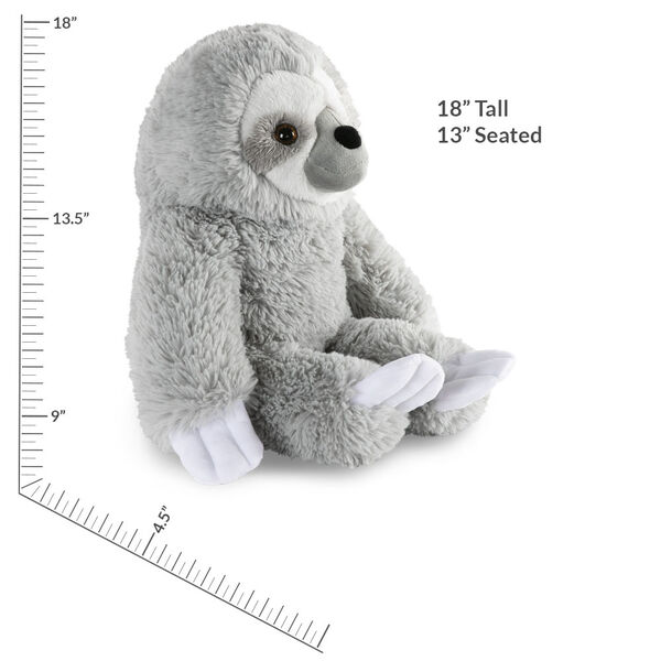 """18"""" Oh So Soft Sloth - Side view of seated gray 18"""" Sloth with white claws and face with measurement of 18"""" tall or 13"""" seated image number 3"""