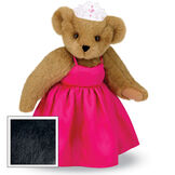 """15"""" Birthday Girl Bear - Standing jointed bear dressed in hot pink satin dress and bejeweled tiara - Black fur image number 3"""