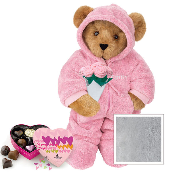 """15"""" Hoodie Footie with Roses and Chocolates - Front view of standing jointed bear dressed in pink hoodie footie, holding pink bouquet of roses and 6 pc. Heart box of chocolates. Left chest personalized with """"Emily"""" in white - Gray image number 4"""