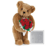 """15"""" Red Rose Bouquet Bear - Front view of standing jointed bear holding a large red bouquet wrapped in white satin and lace - Gray fur image number 4"""