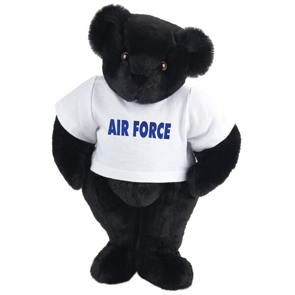 "15"" Air Force T-Shirt Bear - Standing jointed bear dressed in a white t-shirt says, ""AIR FORCE"" in royal blue lettering on the front of the shirt - Black fur image number 3"