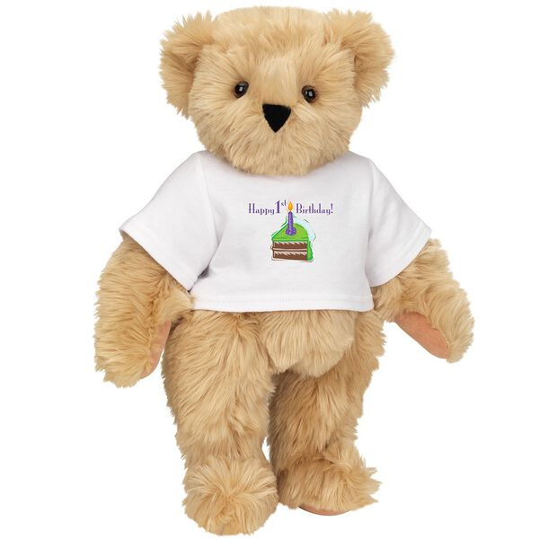 """15"""" 1st Birthday T-Shirt Bear-Chocolate Cake - Standing jointed bear dressed in a white t-shirt with a slice of chocolate cake artwork that says, """"Happy 1st Birthday!"""" on the front of the shirt - Maple brown fur image number 6"""