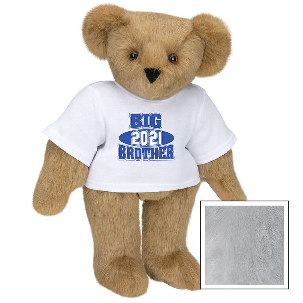 """15"""" 2021 Big Brother T-Shirt Bear - Standing jointed bear dressed in a white t-shirt with royal blue and white artwork that says, """"Big Brother 2021"""" on the front of the shirt - Gray image number 4"""
