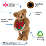 """15"""" Red Rose Bouquet Bear and Chocolates- Honey bear standing and holding red roses, text says """"Guaranteed for Life; Signature Eyes; Poseable Limbs; Recycled Stuffing; Hypo-Allergenic fur; Fabric Flower Bouquet"""".  image number 1"""