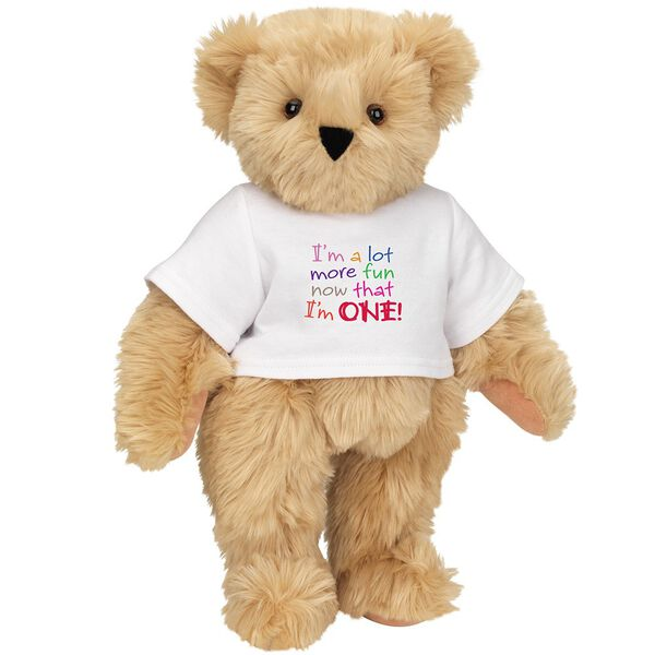 """15"""" Fun at One T-Shirt Bear - Front view of standing jointed bear dressed in white t-shirt with multi-colored graphic that says, """"I'm a lot more fun now that I am one!"""" - Maple brown fur image number 5"""