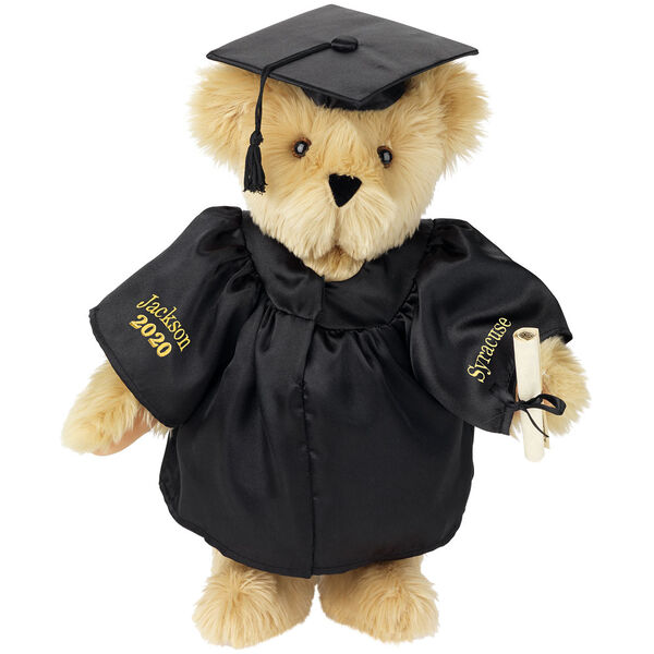 """15"""" Graduation Bear in Black Gown - Front view of standing jointed bear dressed in black satin graduation gown and cap and holding a rolled up diplomapersonalized """"Jackson 2020"""" on right sleeve and """"Syracuse"""" on left in gold - Maple brown fur image number 4"""