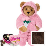 """15"""" Hoodie Footie with Roses and Chocolates - Front view of standing jointed bear dressed in pink hoodie footie, holding pink bouquet of roses and 6 pc. Heart box of chocolates. Left chest personalized with """"Emily"""" in white - Espresso image number 7"""