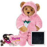 """15"""" Hoodie Footie with Roses and Chocolates - Front view of standing jointed bear dressed in pink hoodie footie, holding pink bouquet of roses and 6 pc. Heart box of chocolates. Left chest personalized with """"Emily"""" in white - Black image number 3"""