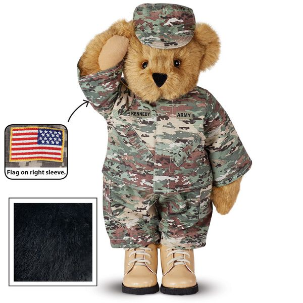 """15"""" Camouflage Bear - Front view of Standing jointed beardressed in a digital camoflage military outfit with American flag on the bear's right sleevewith """"Kennedy"""" personalized on the left chest - Black fur image number 3"""