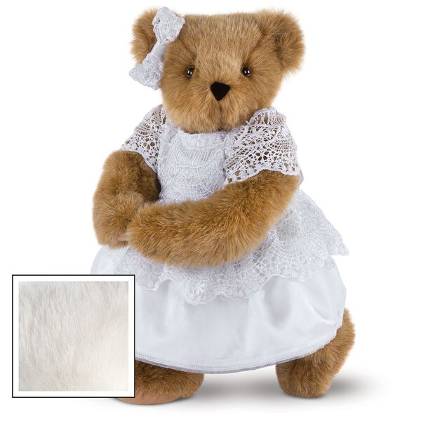 """15"""" Special Occasion Girl Bear - Three quarter view of standing jointed bear dressed in a white satin dress and hair bow with white lace trim - Vanilla white fur image number 2"""