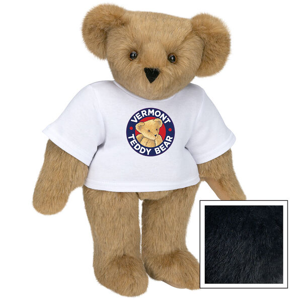 """15"""" Classic Vermont Teddy Bear Logo T-Shirt Bear - Front view of standing jointed bear dressed in white t-shirt with Vermont Teddy logo on front - Black image number 3"""