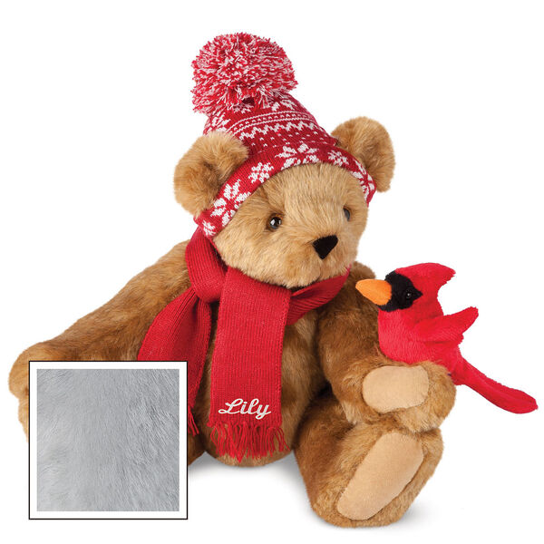 """15"""" Season's Greetings Bear - Front view of seated jointed bear dressed in a knit red and white nordic patterned hat with red scarf and holding a red cardinal. Bottom edge of scarf is personalized with """"Lily"""" in white lettering - Gray image number 4"""