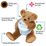 """15"""" Baby Boy Bear - Seated jointed bear dressed in light blue with white dots fabric diaper and bib, text around bear reads, """"Guaranteed For Life; Recycled Stuffing; Hypoallergenic Fur; Customize with Date and Name; Child-safe Eyes"""".  image number 8"""