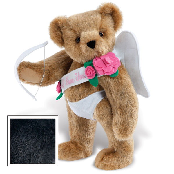 """15"""" Cupid Bear - Three quarter view of standing jointed bear dressed in white diaper, white sash with pink flowers and holding a cupid bow. Sash says """"I Love You"""" image number 3"""