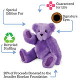 "15"" Special Edition Spark Kindness Classic Bear - Seated jointed purple bear with surrounding text, ""Guaranteed for Life; Signature Eyes; 20% donated to Jennifer Riordan foundation; Recycled Stuffing; Special Edition Fur."" image number 1"