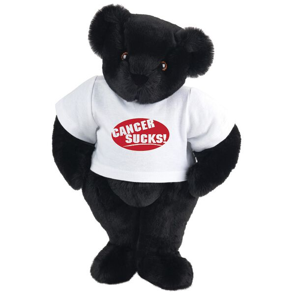 """15"""" Cancer Sucks T-Shirt Bear - Standing jointed bear dressed in white t-shirt with red graphic that says, """"Cancer Sucks!"""" - Black fur image number 3"""