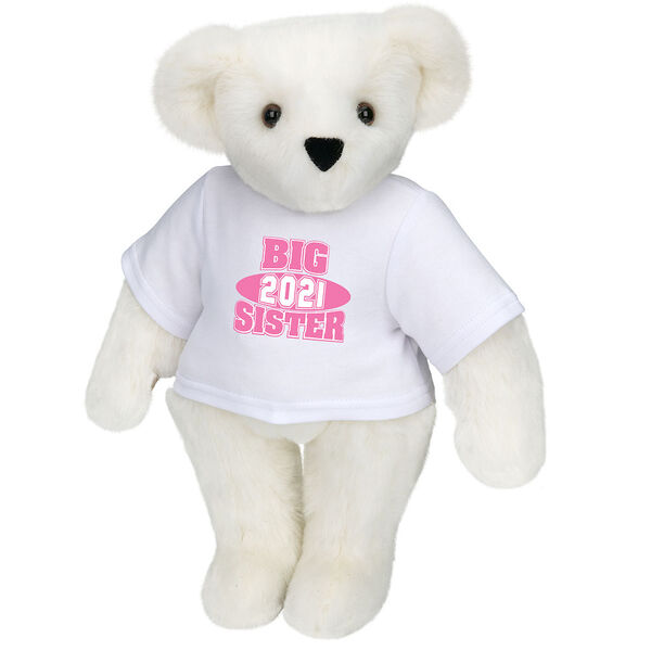 """15"""" 2021 Big Sister T-Shirt Bear - Standing jointed bear dressed in a white t-shirt with bright pink and white artwork that says, """"Big Sister 2021"""" on the front of the shirt - Vanilla image number 2"""