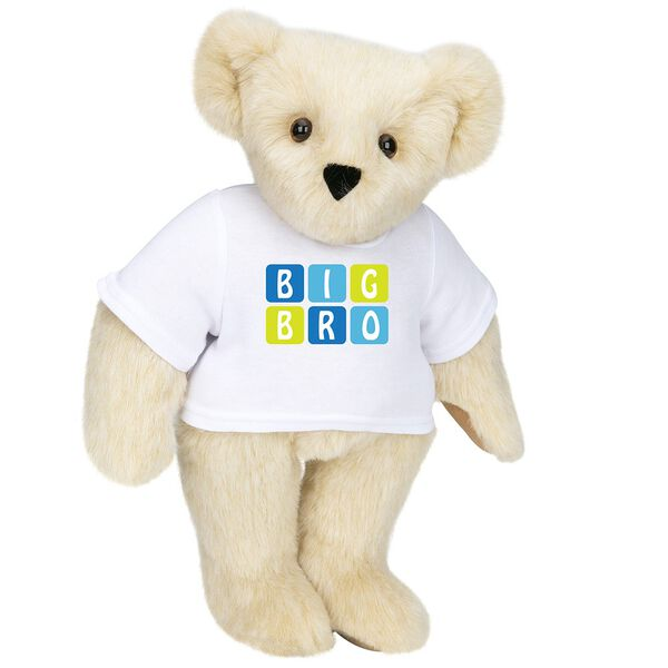 """15"""" BIG BRO T-Shirt Bear - Standing jointed bear dressed in white t-shirt with blue and green graphic that says, """"Big Bro' - Buttercream brown fur image number 1"""
