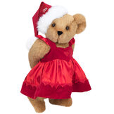 """15"""" Christmas Sweetheart Bear - Standing jointed bear dressed in white red velvet dress with heart lace trim and red velvet santa hat with white fur trim. Hat is personalized with """"Jan"""" above the fur  - Honey brown fur image number 0"""