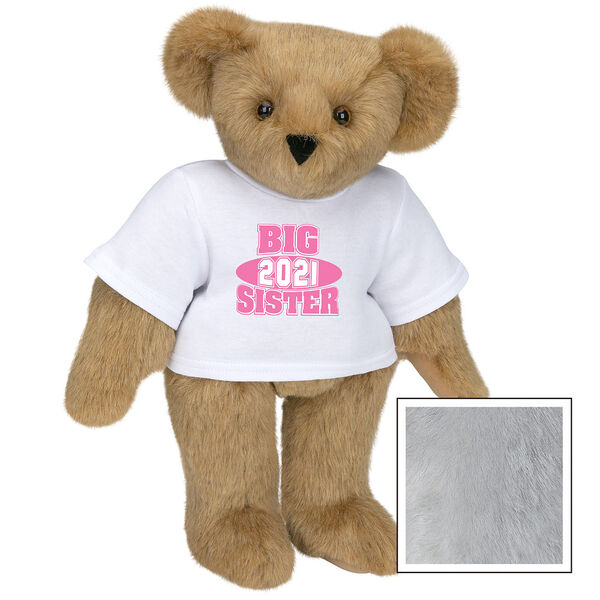 """15"""" 2021 Big Sister T-Shirt Bear - Standing jointed bear dressed in a white t-shirt with bright pink and white artwork that says, """"Big Sister 2021"""" on the front of the shirt - Gray image number 4"""